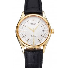 Knockoff Swiss Rolex Cellini Date White Dial Gold Case Black Leather Strap