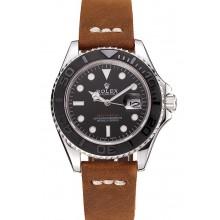 Luxury Rolex Yacht Master Black Dial Silver Case Brown Leather Bracelet 1453859