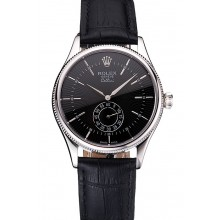 New Swiss Rolex Cellini Black Dial Stainless Steel Case Black Leather Strap