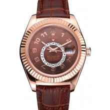 Quality Rolex Sky Dweller Brown Dial Rose Gold Case Brown Leather Strap