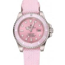 Quality Swiss Rolex Submariner Pink Dial Pink Bezel Pink Fabric Bracelet 1453981