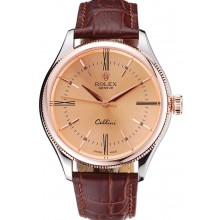 Replica Fashion Rolex Cellini Gold Dial And Bezel Stainless Steel Case Brown Leather Strap 622840