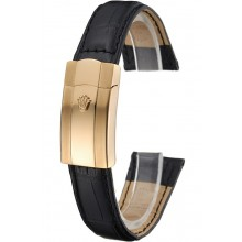 Replica Rolex Black Leather with Gold Clasp Bracelet 622496