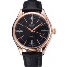 Replica Rolex Cellini Black Dial Pink Gold Case Black Leather Strap 622842