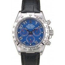 Replica Rolex Daytona Stainless Steel Case Blue Dial Black Leather Strap
