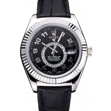 Replica Rolex Sky Dweller Black Dial Stainless Steel Case Black Leather Strap
