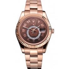 Replica Rolex Sky Dweller Brown Dial Rose Gold Case Ad Bracelet