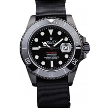 Replica Rolex Swiss Submariner Pro-Hunter Black Fabric Strap Black Dial
