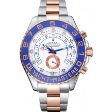 Replica Rolex Yacht-Master II White Dial Blue Bezel Stainless Steel and Rose Gold Bracelet 622270