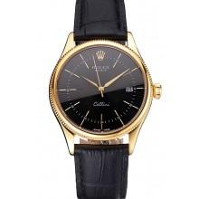 Replica Swiss Rolex Cellini Date Black Dial Gold Case Black Leather Strap
