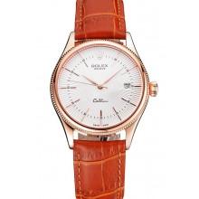 Replica Swiss Rolex Cellini Date White Dial Rose Gold Case Brown Leather Strap
