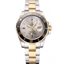 Replica Swiss Rolex Submariner Silver Dial Diamond Markings Black Bezel Two Tone Steel Gold Bracelet
