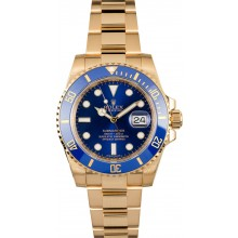 Rolex 18K Yellow Gold Submariner 116618 Blue Dial JW1615