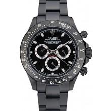 Rolex Daytona Black Ion Plated Tachymeter Black Stainless Steel Strap Black Dial 80247