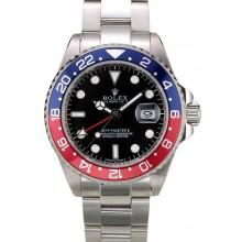 Rolex GMT Master II Blue Rose Red Bezel Black Dial Tachymeter