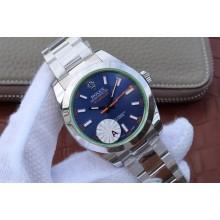Rolex Milgauss 116400 Green Sapphire Blue Dial Bracelet SH3131 WJ00954