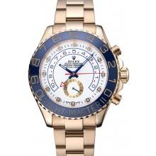 Rolex Yachtmaster II White Dial Blue Bezel Gold Bracelet 622271