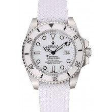 Swiss Rolex Submariner Bamford White Dial White Fabric Bracelet 1453982