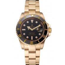 Swiss Rolex Submariner Black Dial Black Bezel Yellow Gold Case And Bracelet