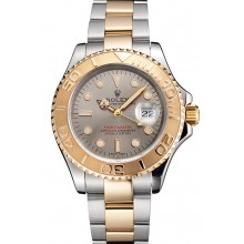 Swiss Rolex Yacht-Master Gray Dial Gold Bezel Stainless Steel Case Two Tone Dial