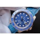 AAA Rolex Submariner 116619 Blue Ceramic V7 Leather Strap WJ01344