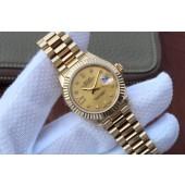 Copy Rolex DateJust 31mm Fluted Bezel Case Gold Dial Rolex WJ01000