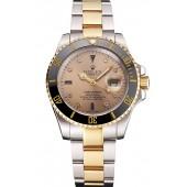 Imitation Swiss Rolex Submariner Gold Dial Diamond Markings Black Bezel Two Tone Steel Gold Bracelet