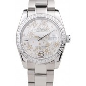 Knockoff Top Rolex Datejust Polished Stainless Steel Silver Flowers Dial Diamond Plated 98081