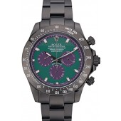 Replica Rolex Daytona Black Ion Plated Tachymeter Black Stainless Steel Strap Green Dial 80246