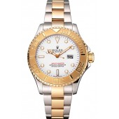 Replica Rolex Yacht-Master White Dial Gold Bezel Stainless Steel Case Two Tone Bracelet