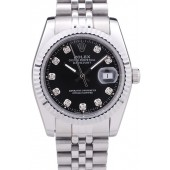 Rolex Datejust Black Dial Diamonds Ribbed Bezel 7458